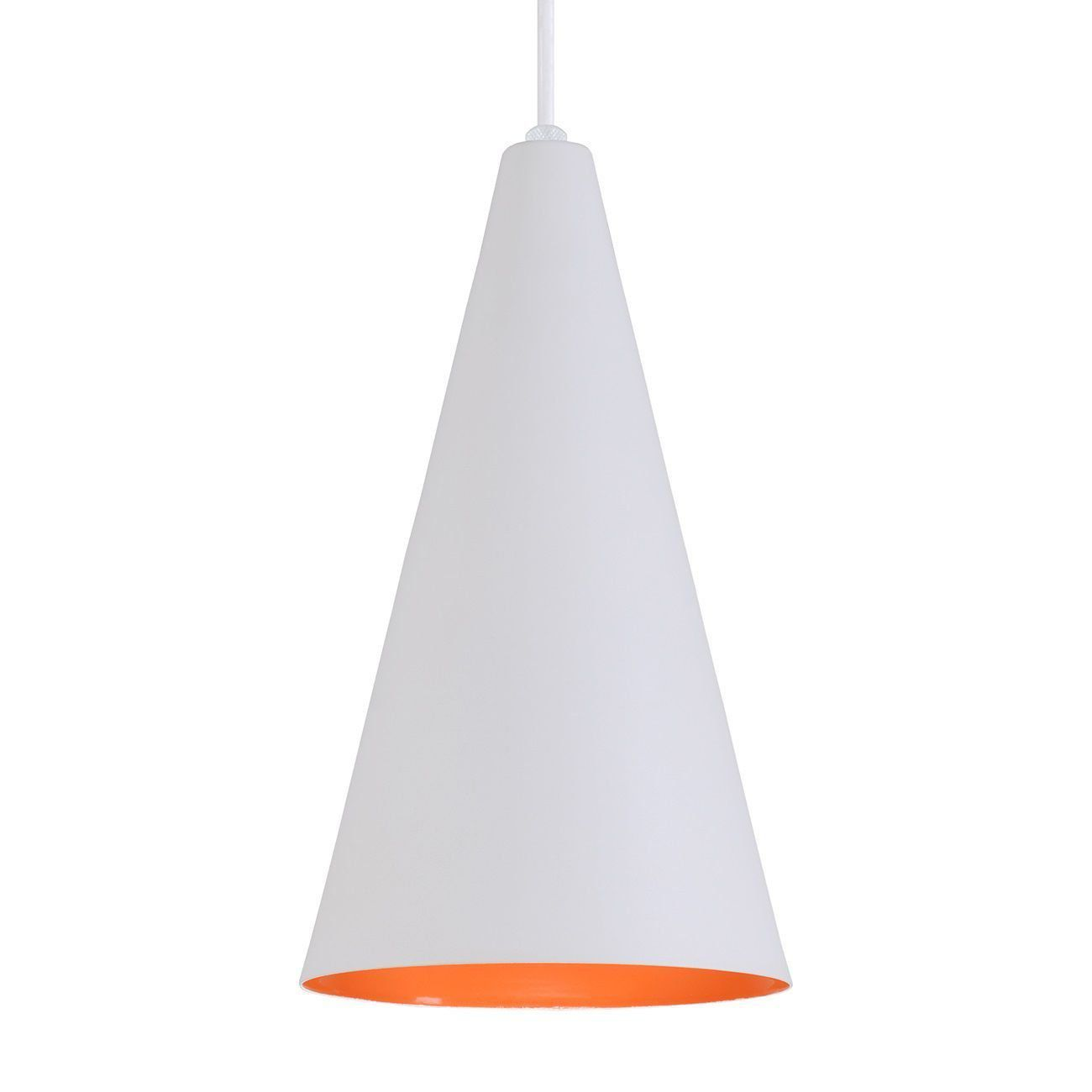 Pendente Cone Luminária Lustre Alumínio Branco Textura C/ Laranja - Rei Da Iluminação