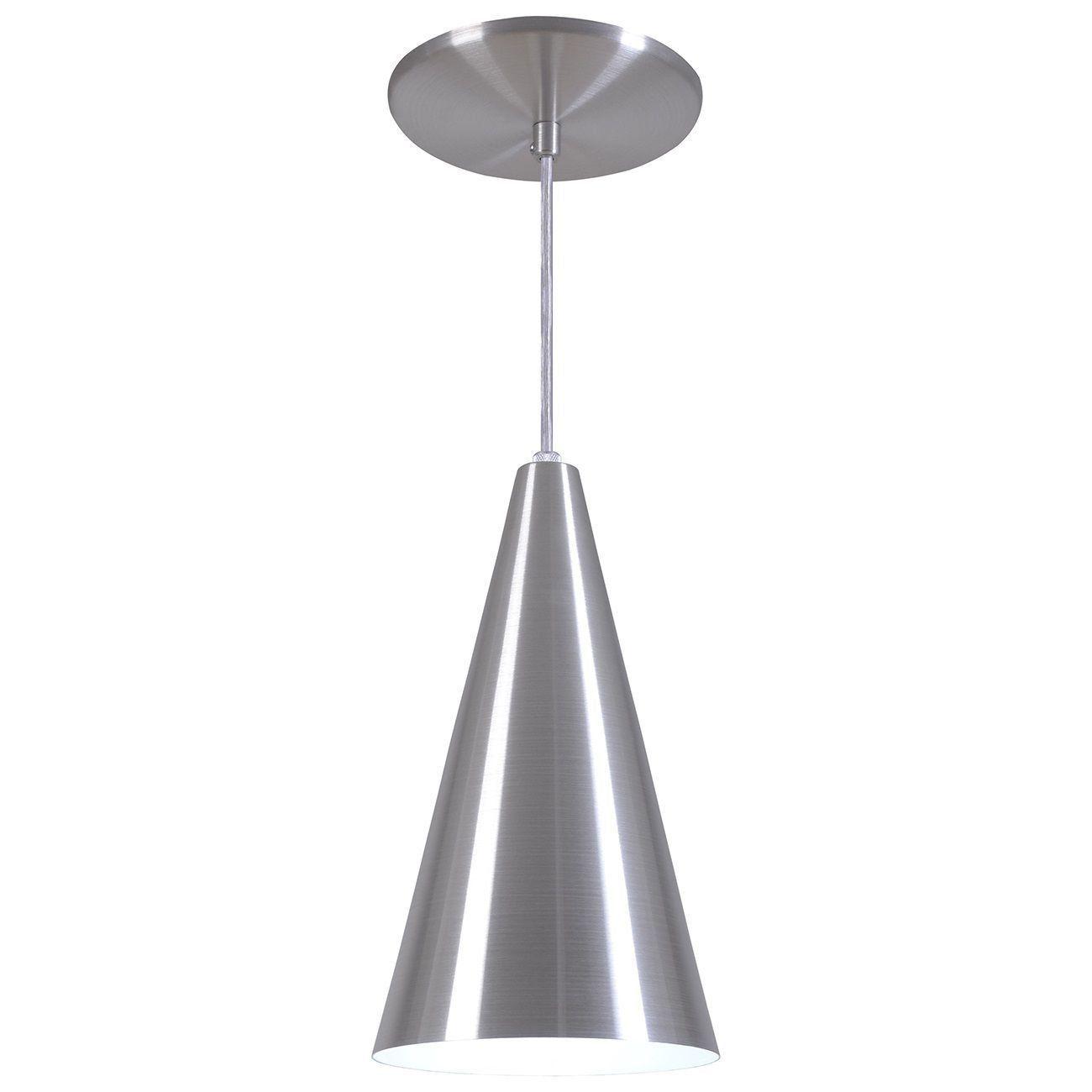 Pendente Cone Luminária Lustre Alumínio Escovado - Rei Da Iluminação