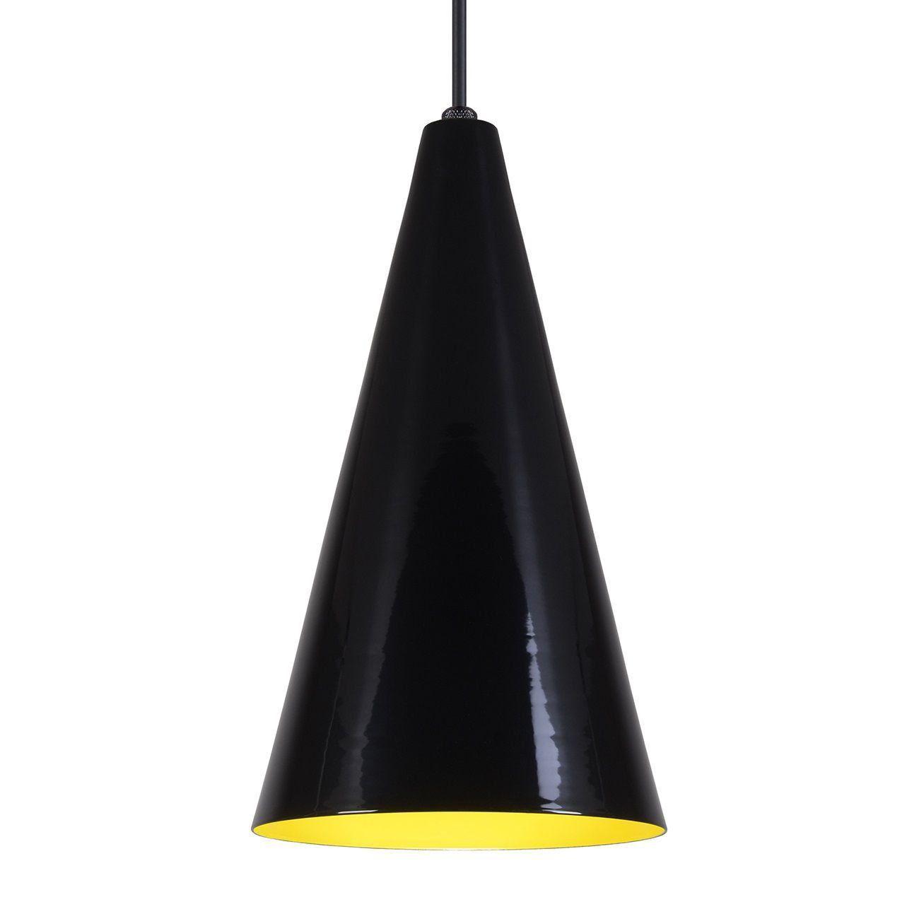 Pendente Cone Luminária Lustre Alumínio Preto Brilhante C/ Amarelo - Rei Da Iluminação