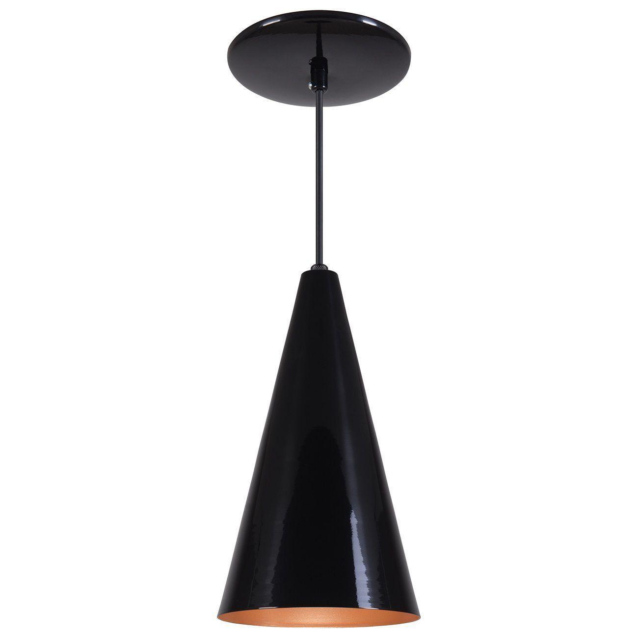 Pendente Cone Luminária Lustre Alumínio Preto Brilhante C/ Cobre - Rei Da Iluminação