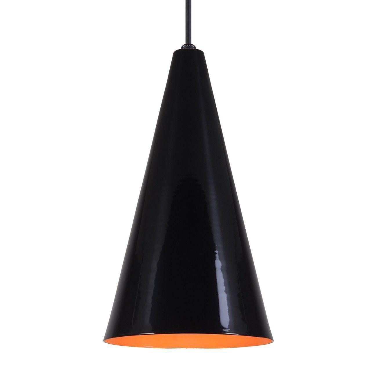 Pendente Cone Luminária Lustre Alumínio Preto Brilhante C/ Laranja - Rei Da Iluminação