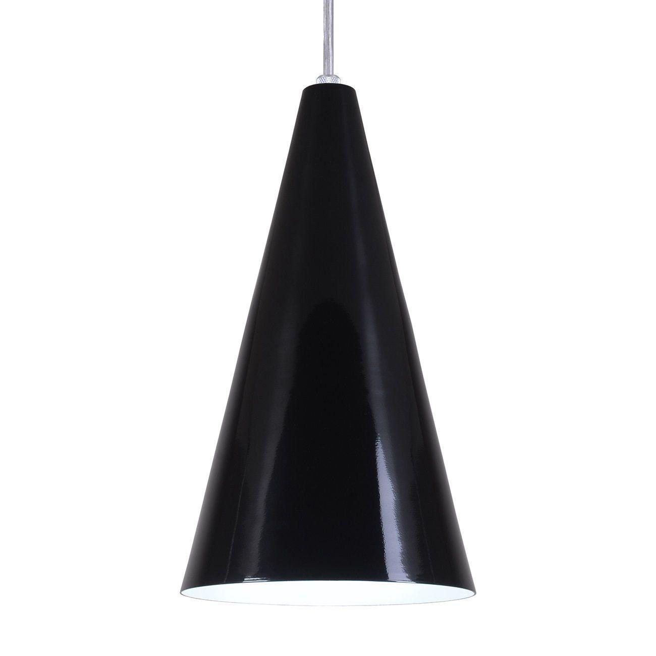 Pendente Cone Luminária Lustre Alumínio Preto Brilhante - Rei Da Iluminação