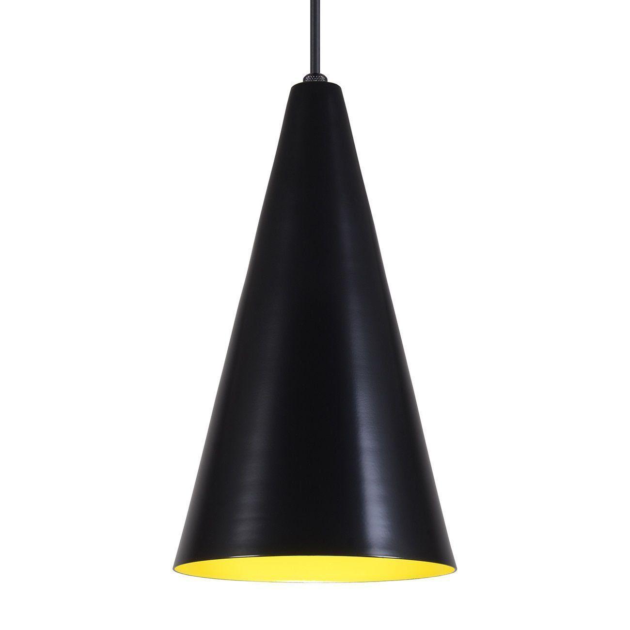 Pendente Cone Luminária Lustre Alumínio Preto Fosco C/ Amarelo - Rei Da Iluminação