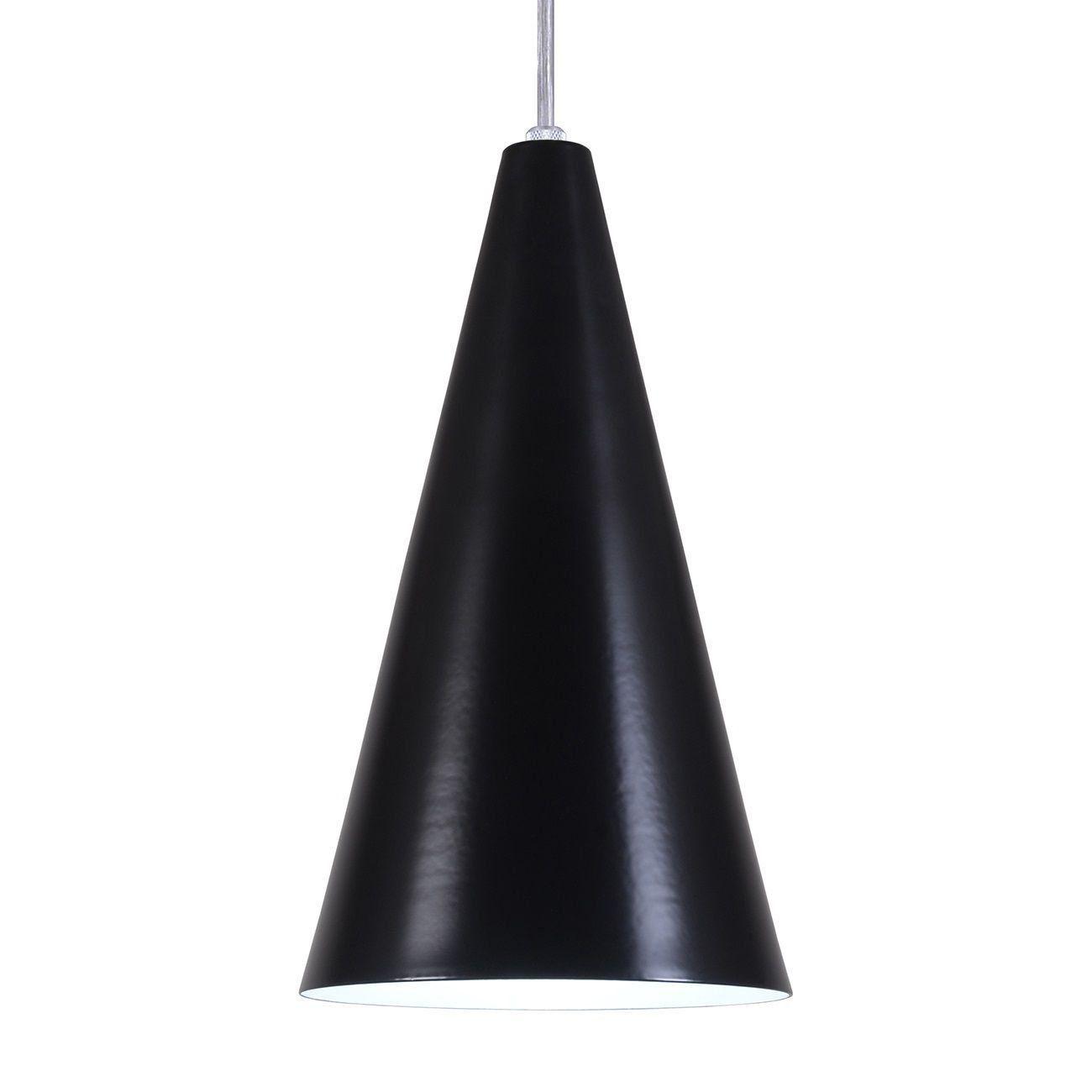 Pendente Cone Luminária Lustre Alumínio Preto Fosco - Rei Da Iluminação