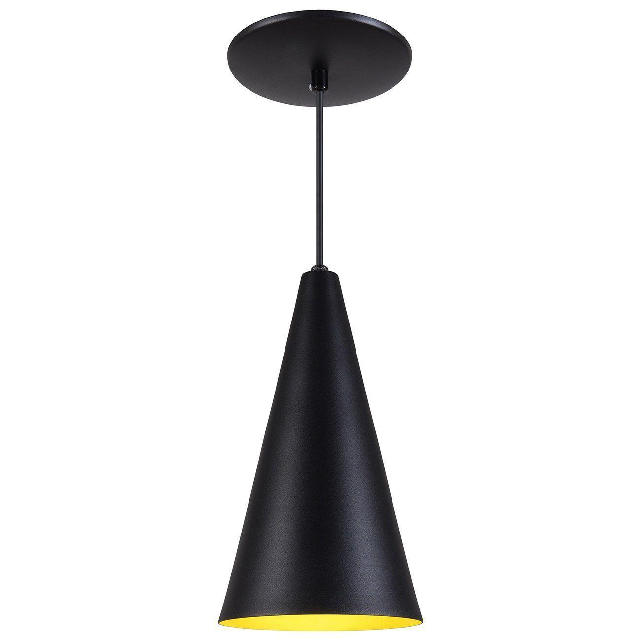 Pendente Cone Luminária Lustre Alumínio Preto Textura C/ Amarelo - Rei Da Iluminação