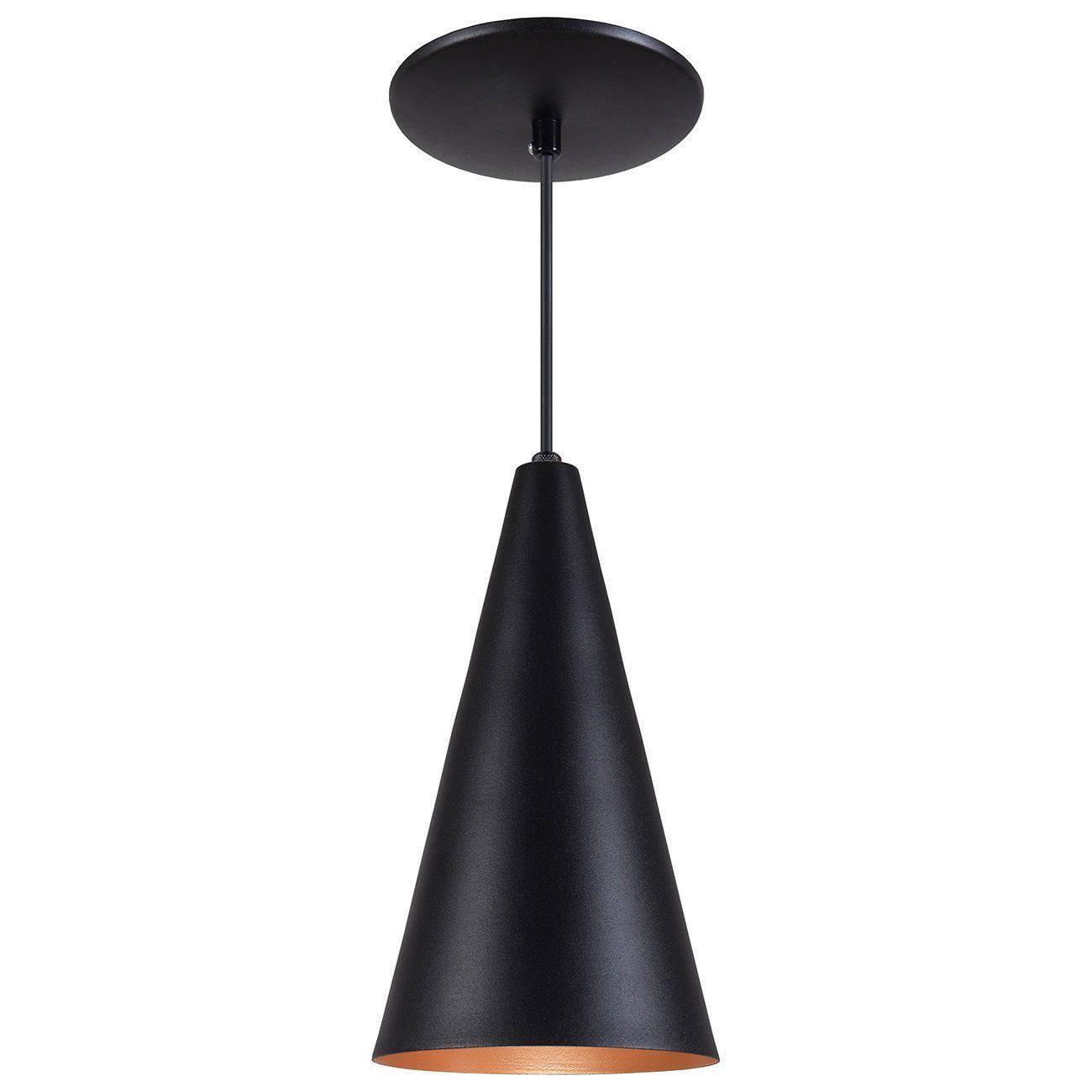 Pendente Cone Luminária Lustre Alumínio Preto Textura C/ Cobre - Rei Da Iluminação
