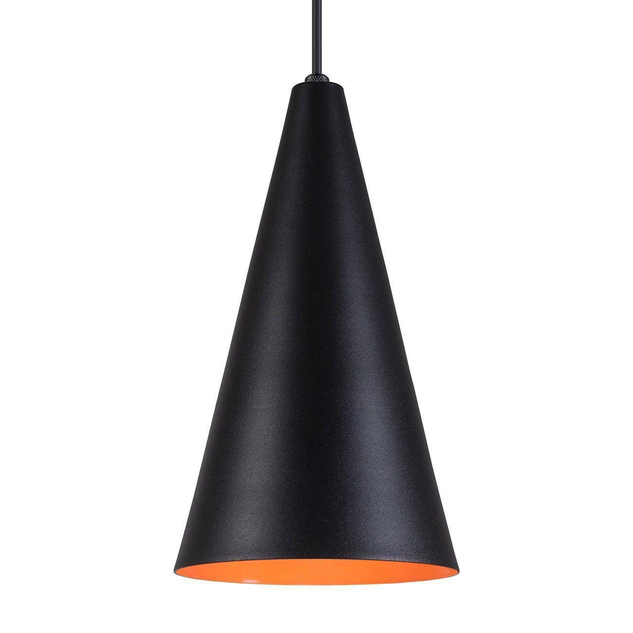Pendente Cone Luminária Lustre Alumínio Preto Textura C/ Laranja - Rei Da Iluminação