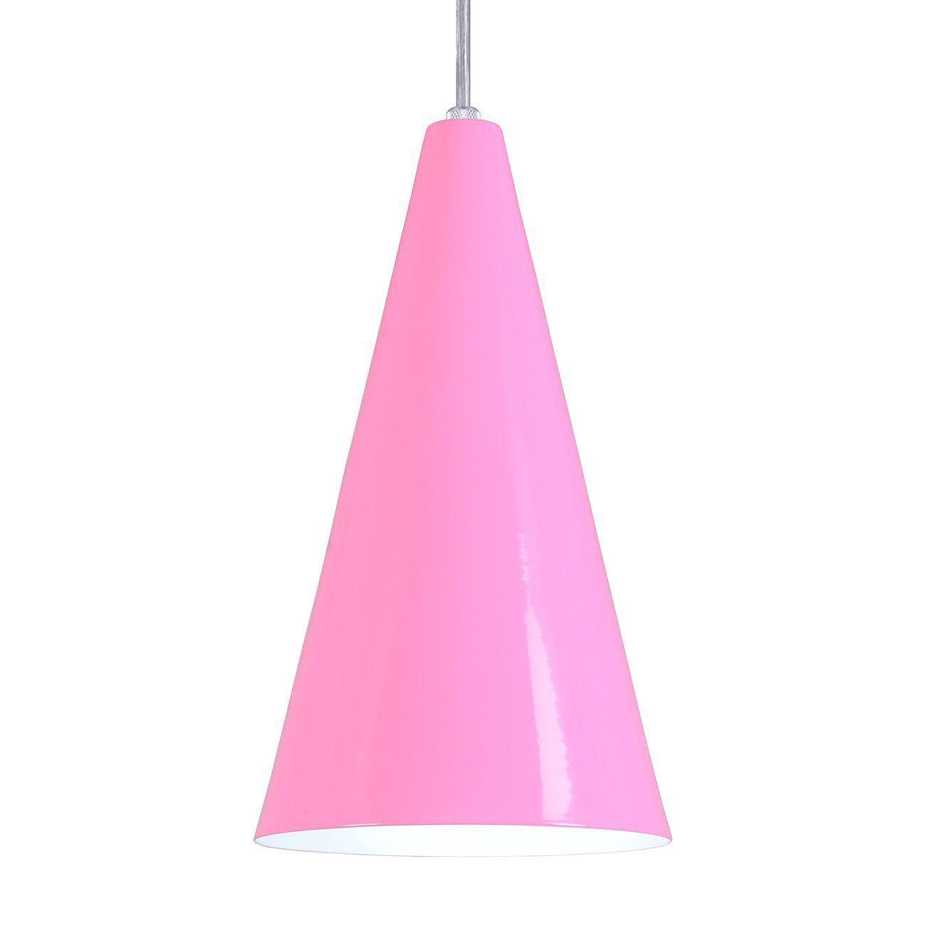 Pendente Cone Luminária Lustre Alumínio Rosa - Rei Da Iluminação