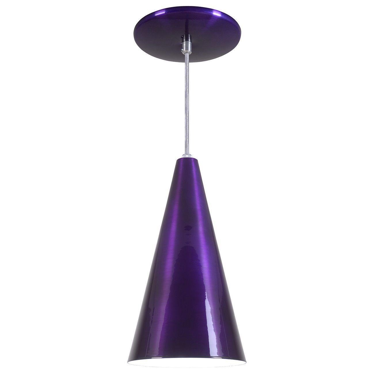 Pendente Cone Luminária Lustre Alumínio Roxo Verniz - Rei Da Iluminação