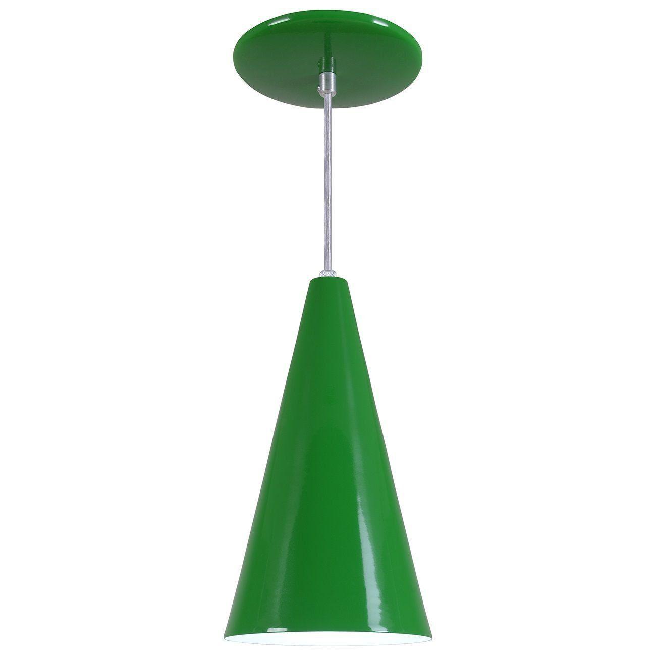 Pendente Cone Luminária Lustre Alumínio Verde - Rei Da Iluminação