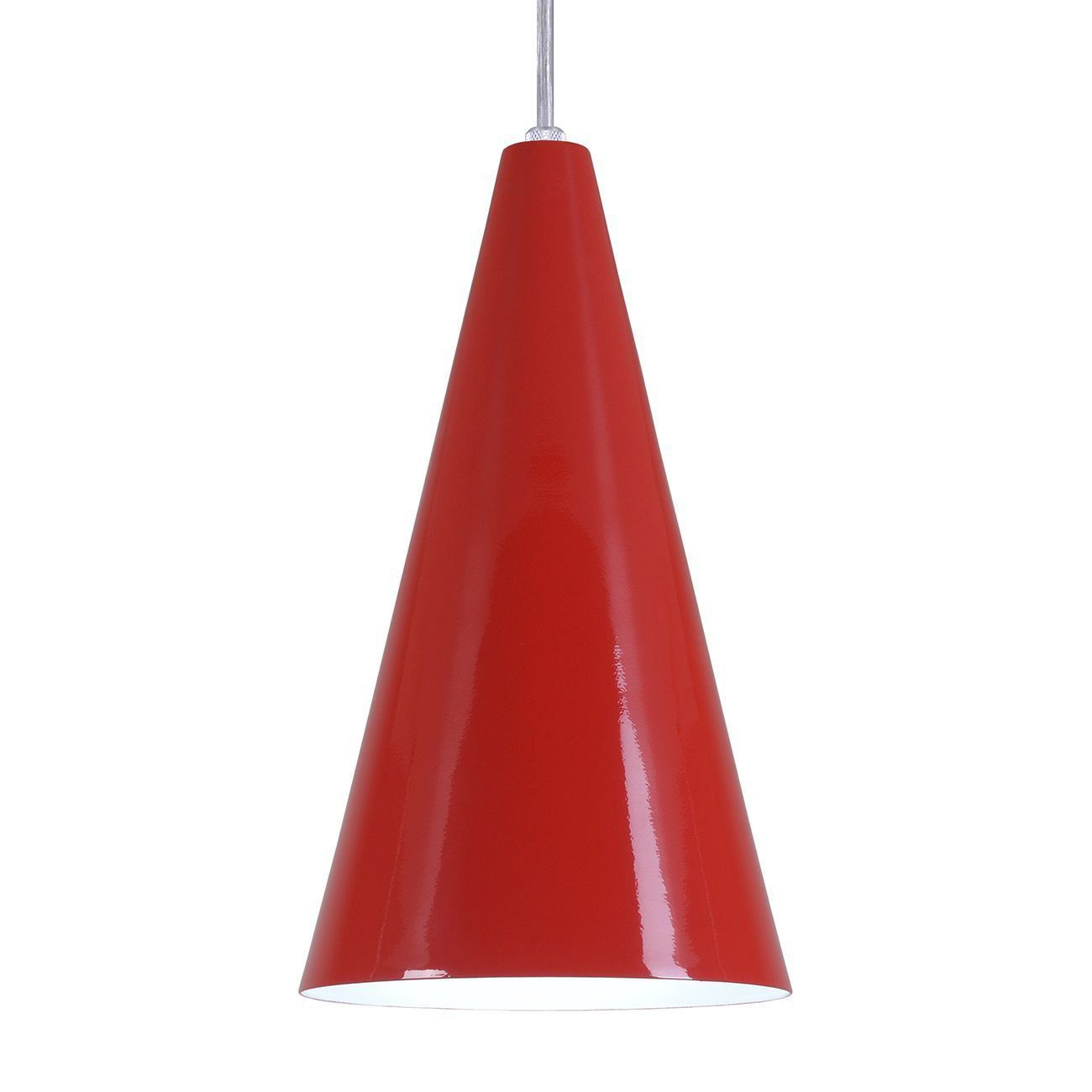 Pendente Cone Luminária Lustre Alumínio Vermelho - Rei Da Iluminação
