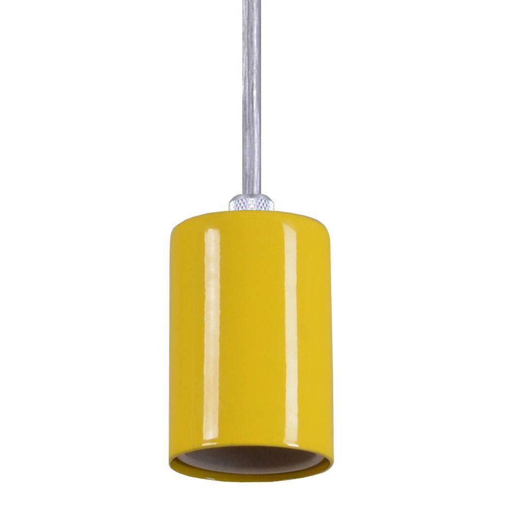 Pendente Copinho Soquete Luminária Lustre Alumínio Amarelo - Rei Da Iluminação
