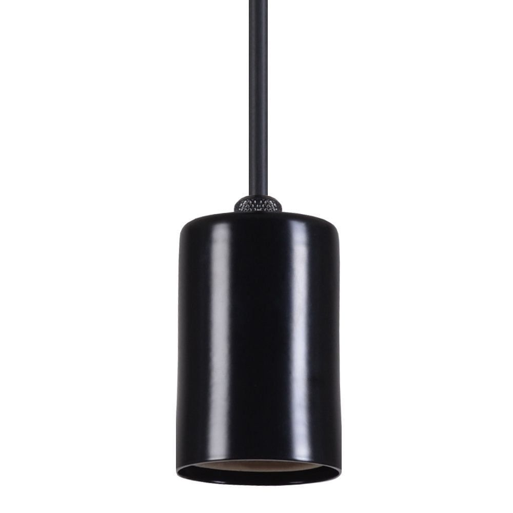 Pendente Copinho Soquete Luminária Lustre Alumínio Preto Fosco - Rei Da Iluminação
