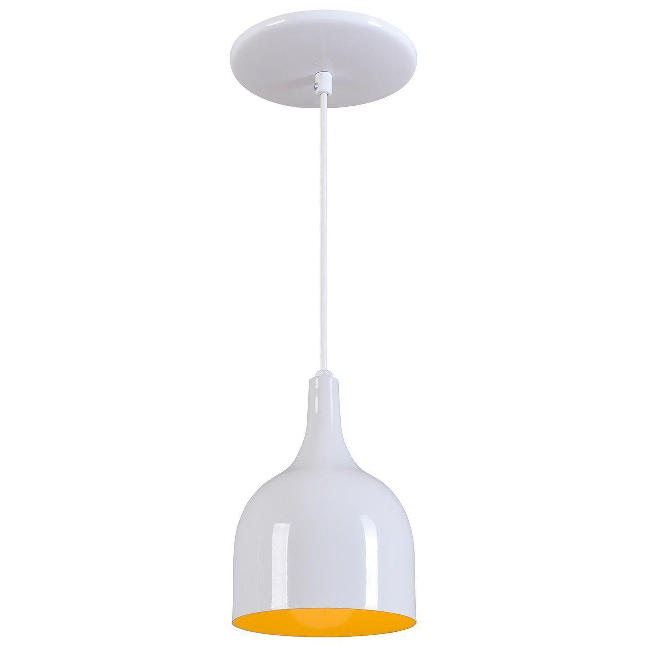 Pendente Gota Teat Luminária Lustre Alumínio Branco Brilhante C/ Amarelo - Rei Da Iluminação