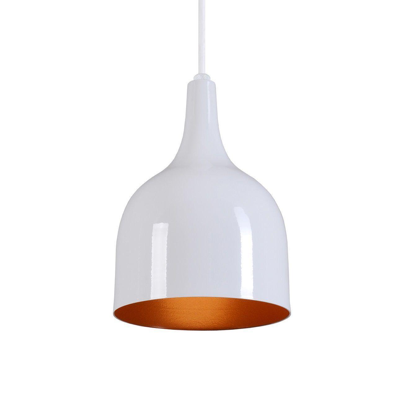 Pendente Gota Teat Luminária Lustre Alumínio Branco Brilhante C/ Cobre - Rei Da Iluminação