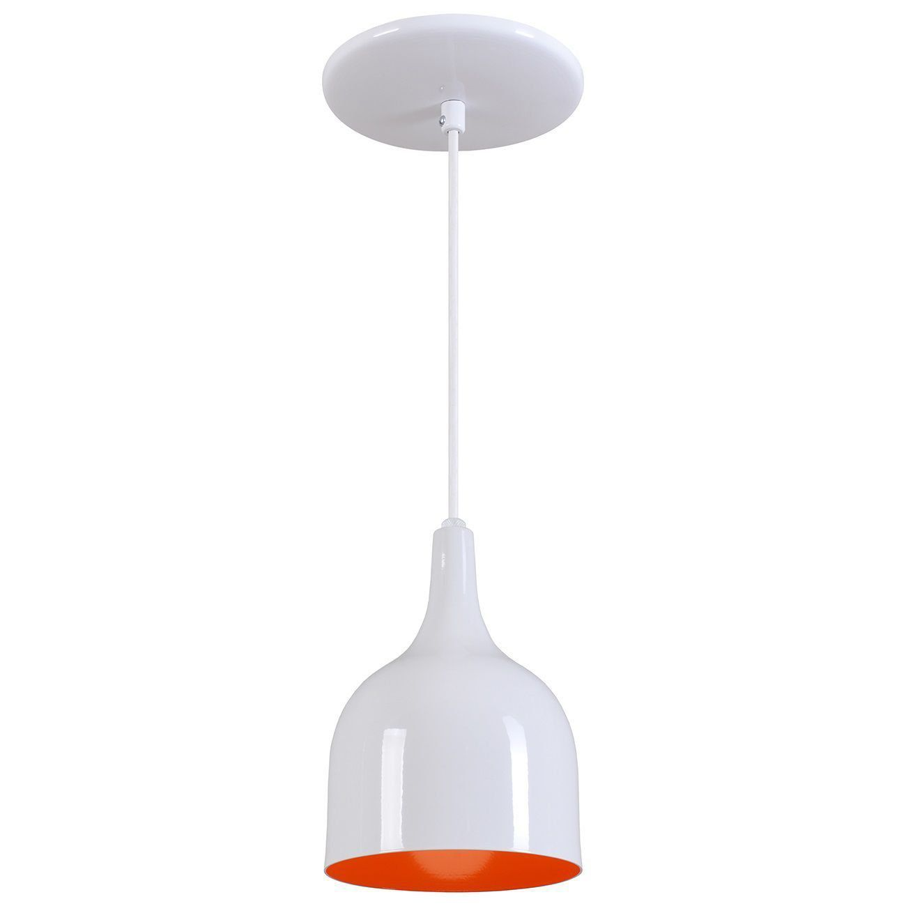 Pendente Gota Teat Luminária Lustre Alumínio Branco Brilhante C/ Laranja - Rei Da Iluminação