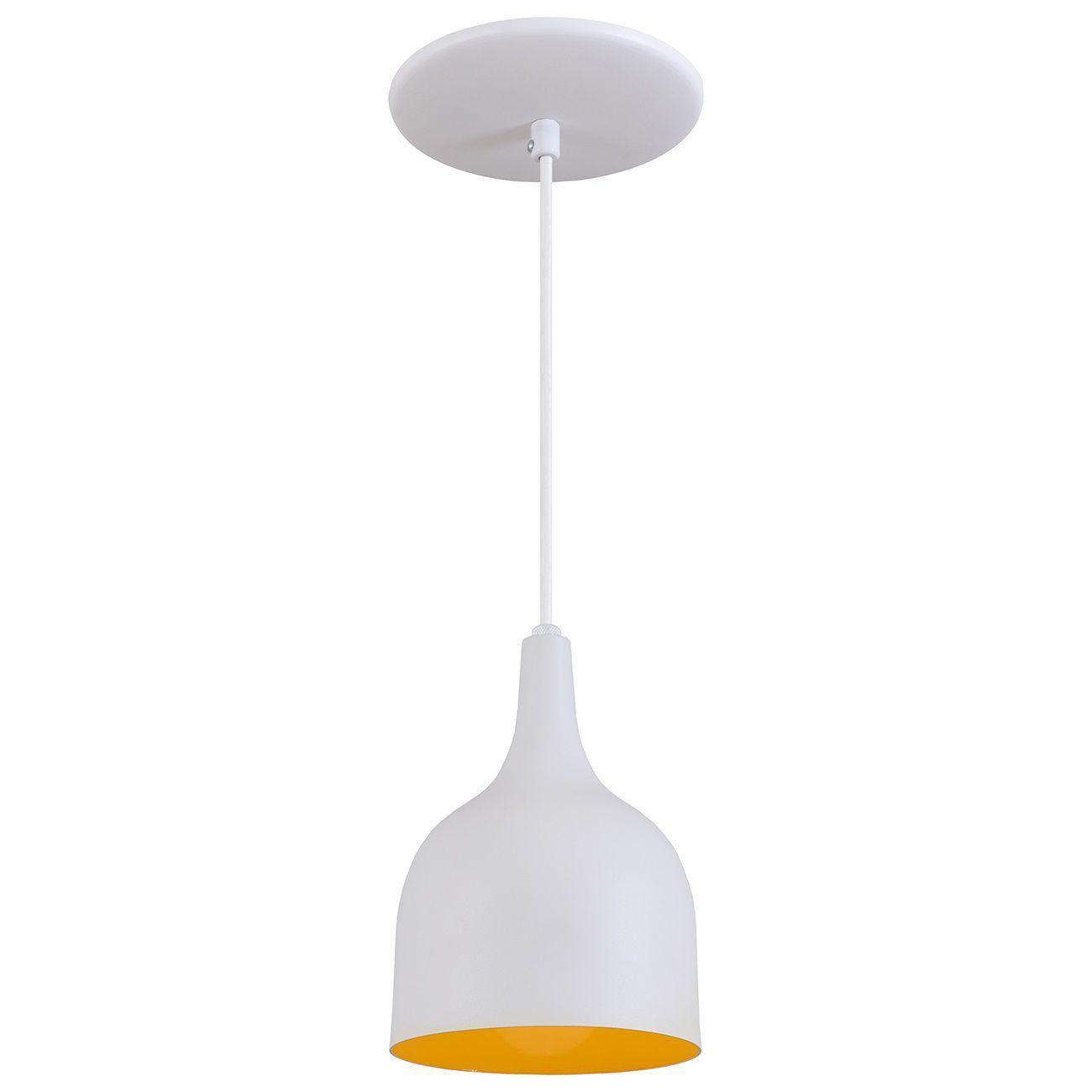 Pendente Gota Teat Luminária Lustre Alumínio Branco Textura C/ Amarelo - Rei Da Iluminação
