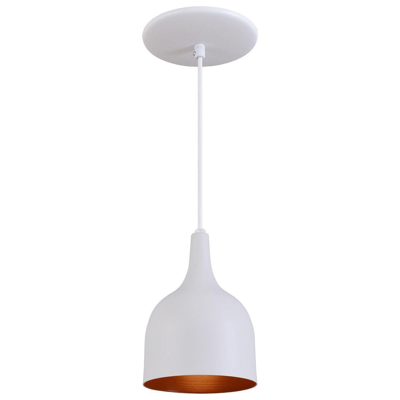 Pendente Gota Teat Luminária Lustre Alumínio Branco Textura C/ Cobre - Rei Da Iluminação