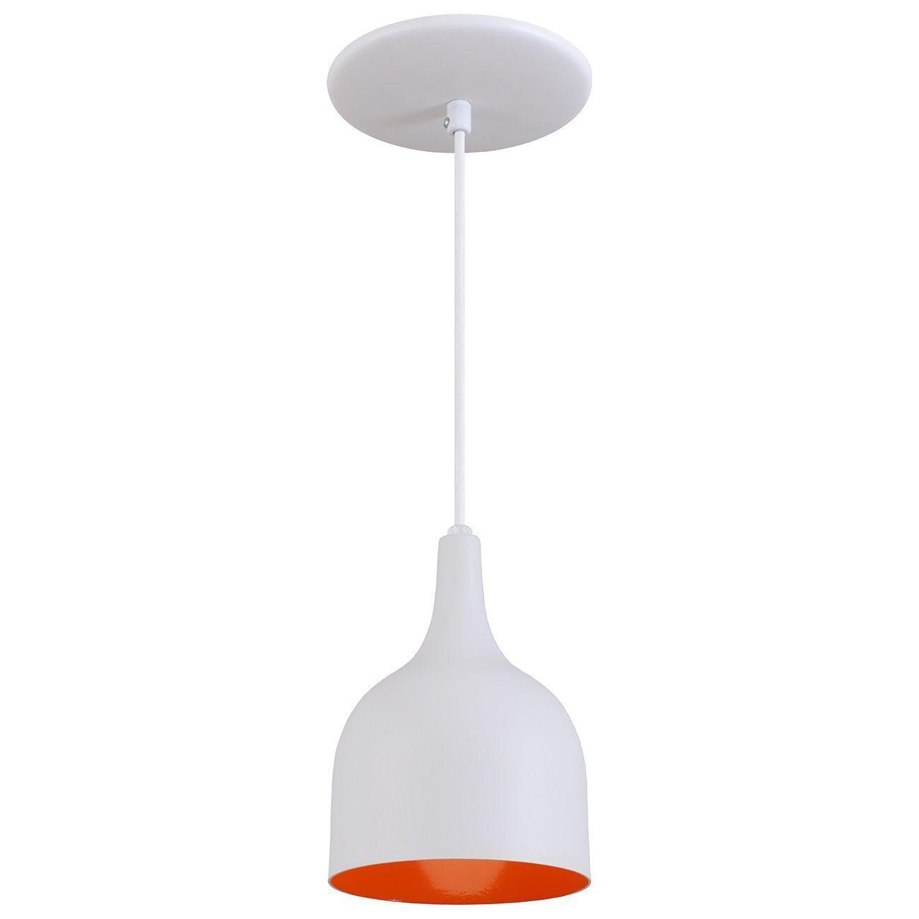 Pendente Gota Teat Luminária Lustre Alumínio Branco Textura C/ Laranja - Rei Da Iluminação