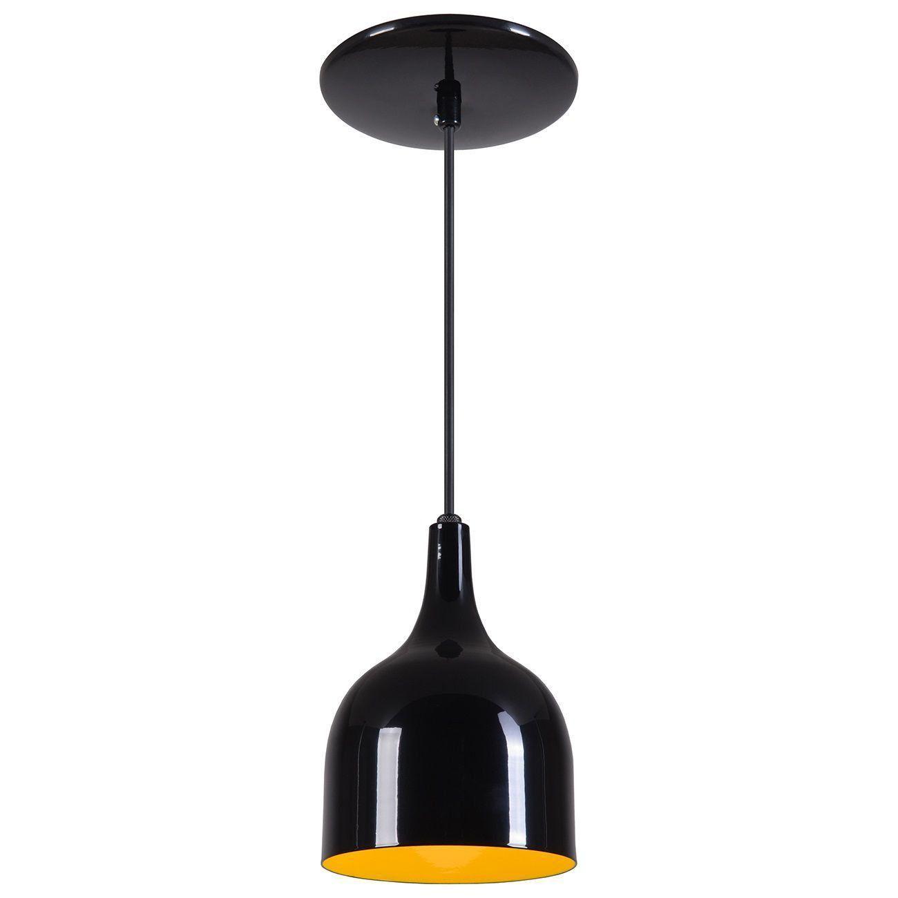 Pendente Gota Teat Luminária Lustre Alumínio Preto Brilhante C/ Amarelo - Rei Da Iluminação