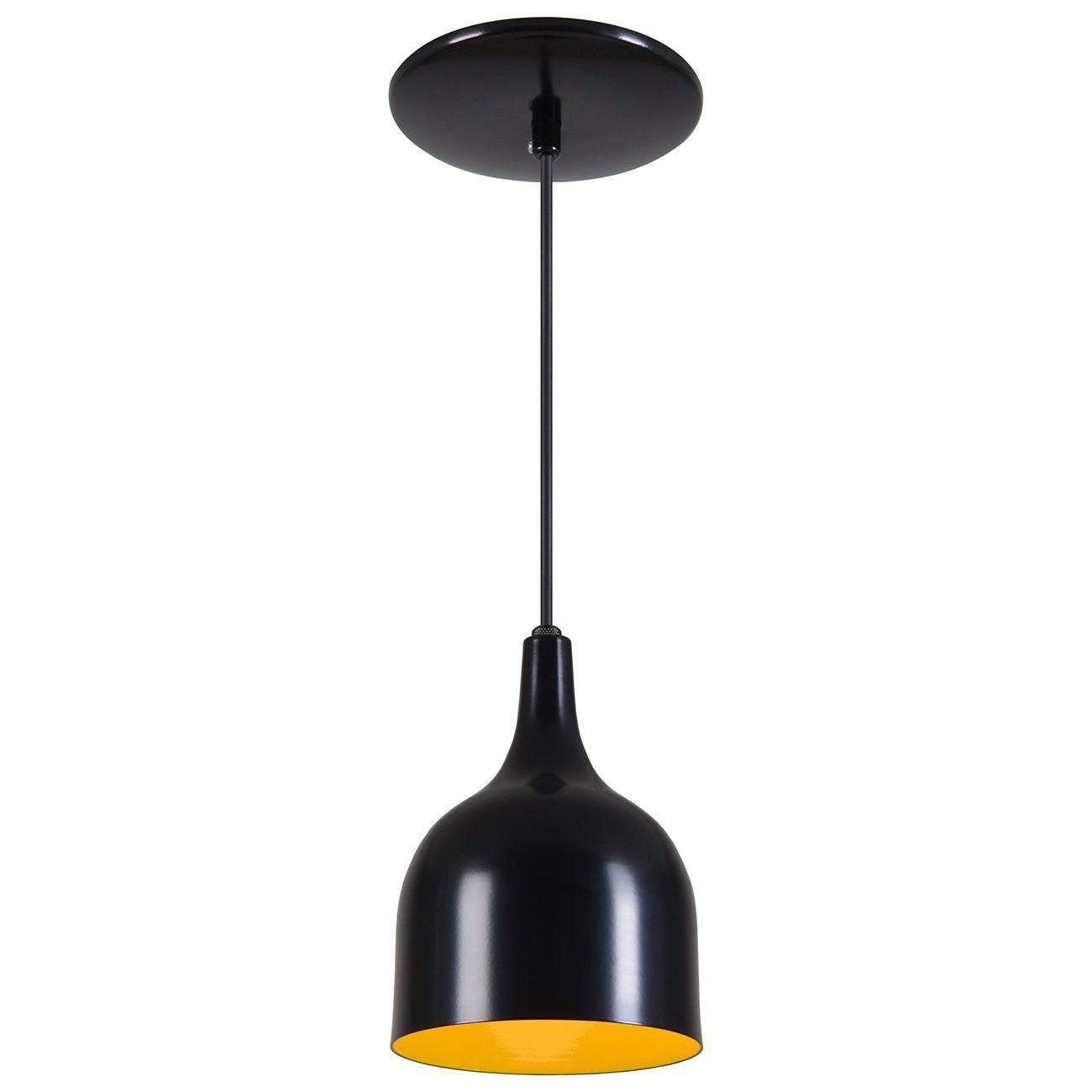Pendente Gota Teat Luminária Lustre Alumínio Preto Fosco C/ Amarelo - Rei Da Iluminação