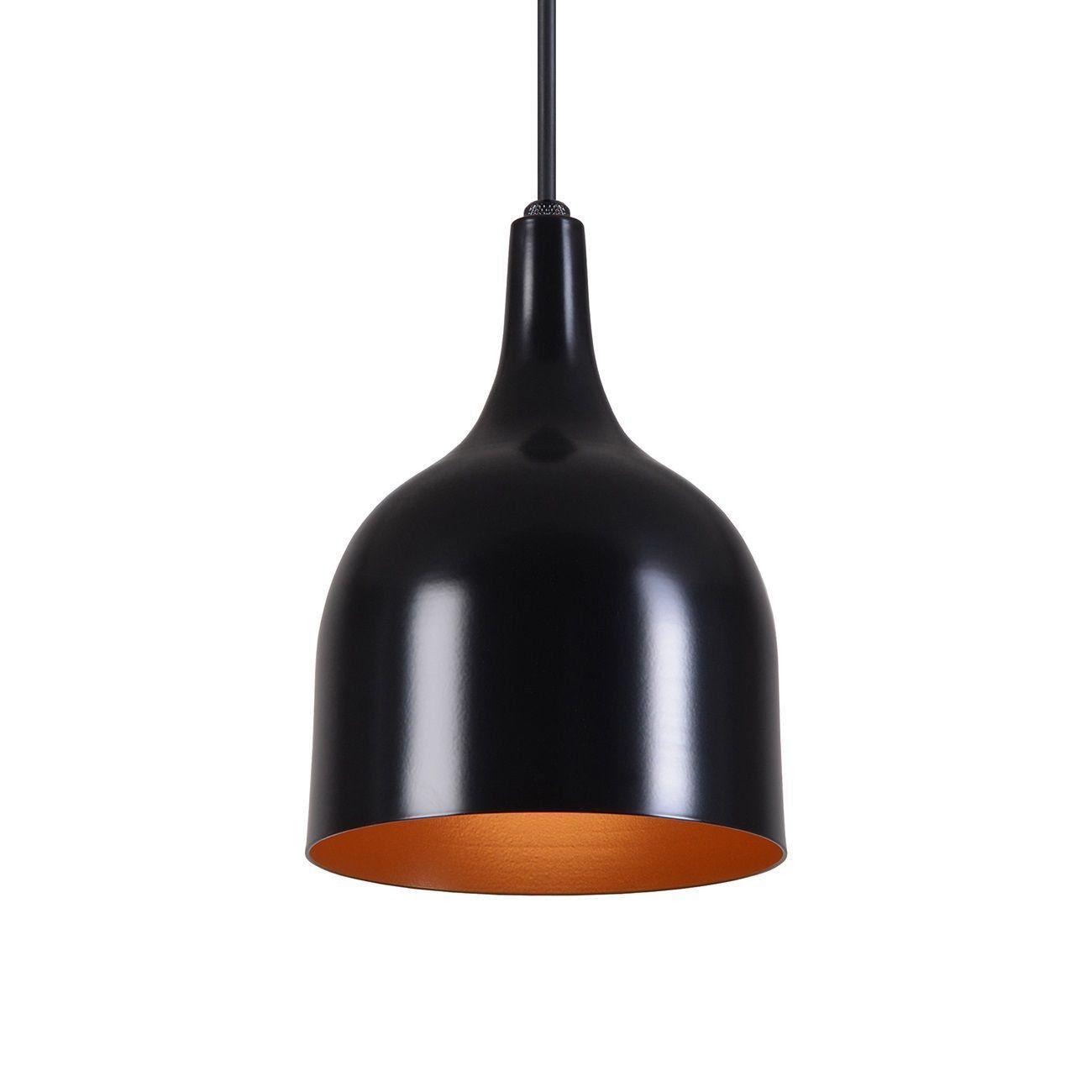Pendente Gota Teat Luminária Lustre Alumínio Preto Fosco C/ Cobre - Rei Da Iluminação