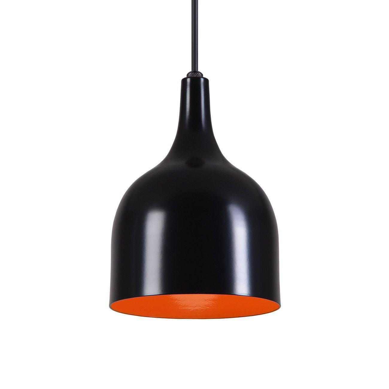 Pendente Gota Teat Luminária Lustre Alumínio Preto Fosco C/ Laranja - Rei Da Iluminação