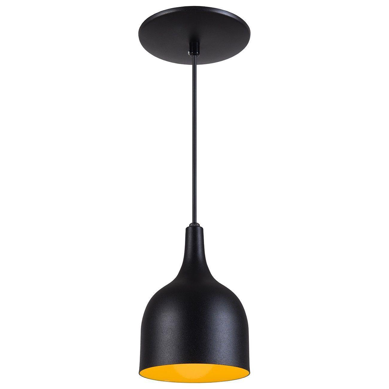 Pendente Gota Teat Luminária Lustre Alumínio Preto Textura C/ Amarelo - Rei Da Iluminação