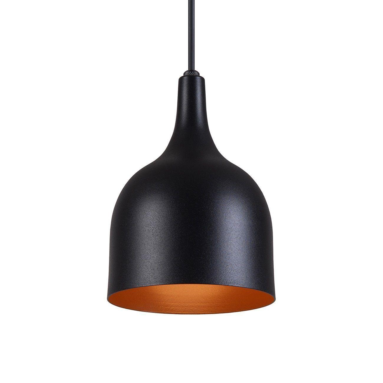 Pendente Gota Teat Luminária Lustre Alumínio Preto Textura C/ Cobre - Rei Da Iluminação