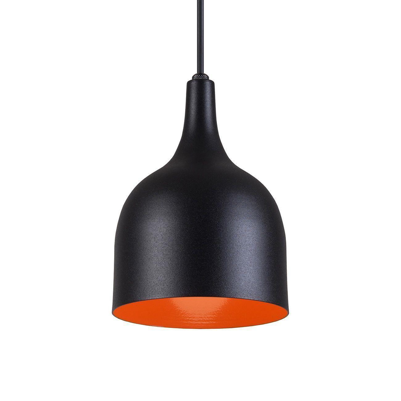 Pendente Gota Teat Luminária Lustre Alumínio Preto Textura C/ Laranja - Rei Da Iluminação