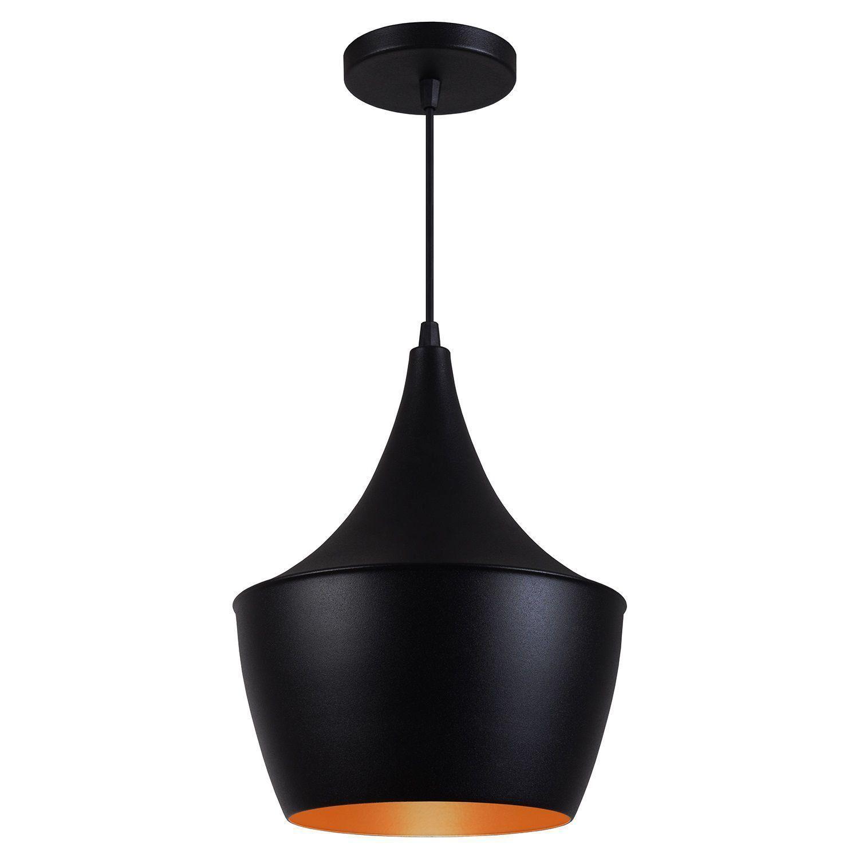 Pendente Luminária Tom Dixon Balão New York Preto Textura C/ Cobre - Rei da Iluminação