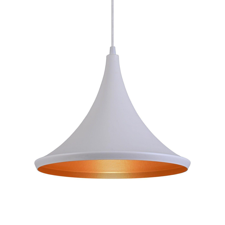 Pendente Luminária Tom Dixon Chapéu Miami Branco Textura C/ Cobre - Rei da Iluminação
