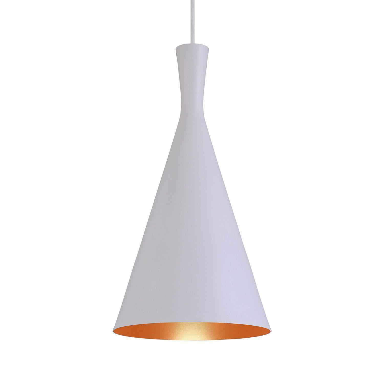 Pendente Luminária Tom Dixon Funil Canadá Branco Textura C/ Cobre - Rei da Iluminação
