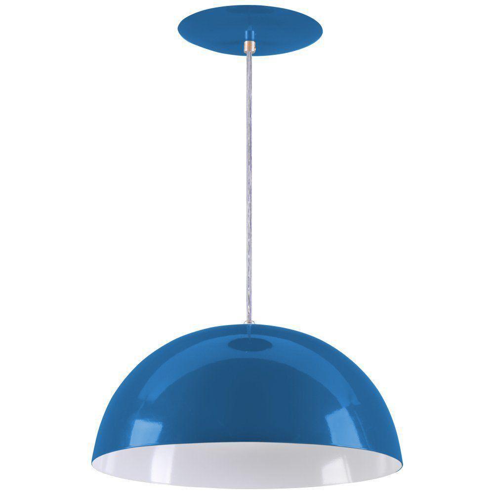 Pendente Meia Lua 34cm Luminária Alumínio Azul Royal - Rei da Iluminação
