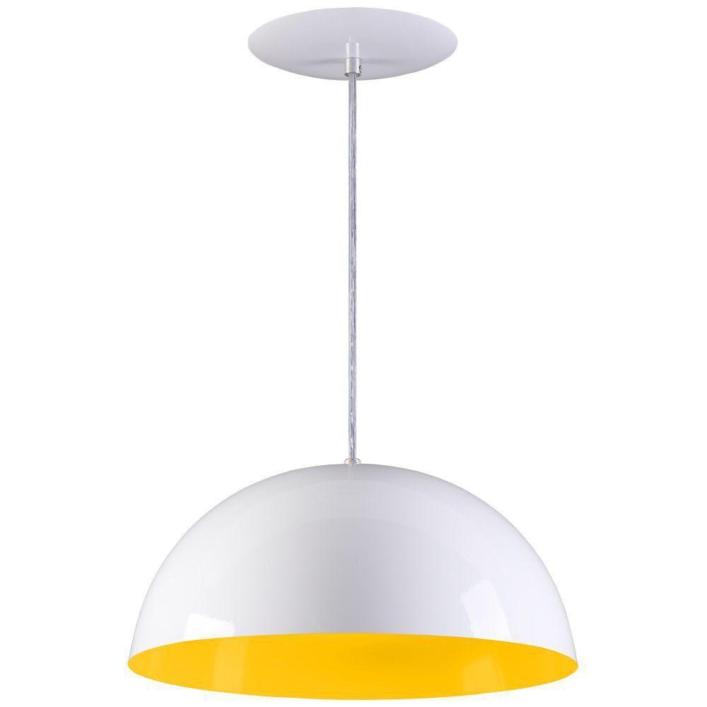 Pendente Meia Lua 34cm Luminária Alumínio Branco Textura C/ Amarelo - Rei da Iluminação