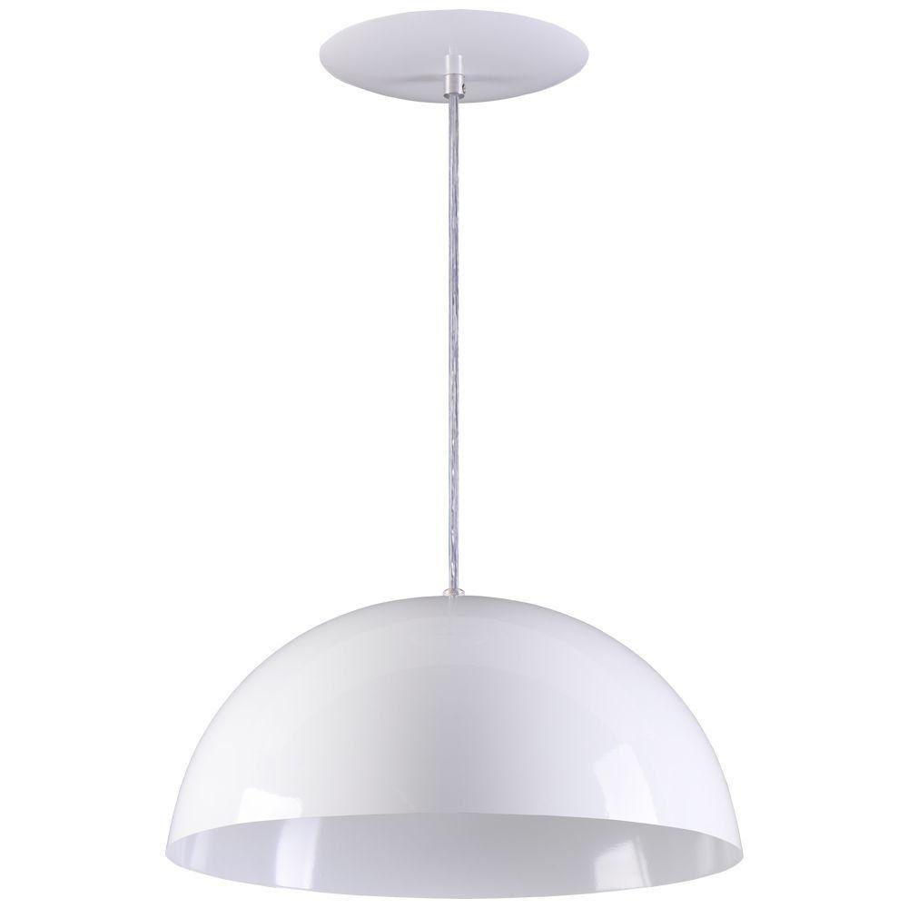 Pendente Meia Lua 34cm Luminária Alumínio Branco Textura - Rei da Iluminação
