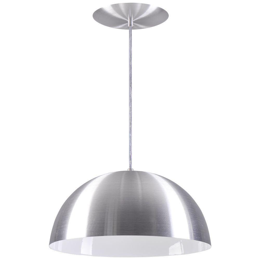 Pendente Meia Lua 34cm Luminária Alumínio Escovado - Rei da Iluminação