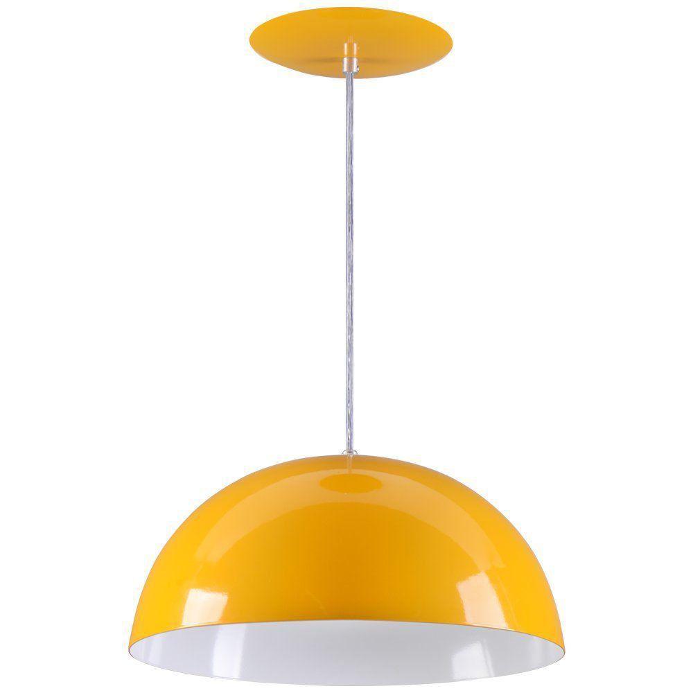 Pendente Meia Lua 40cm Luminária Alumínio Amarelo - Rei da Iluminação