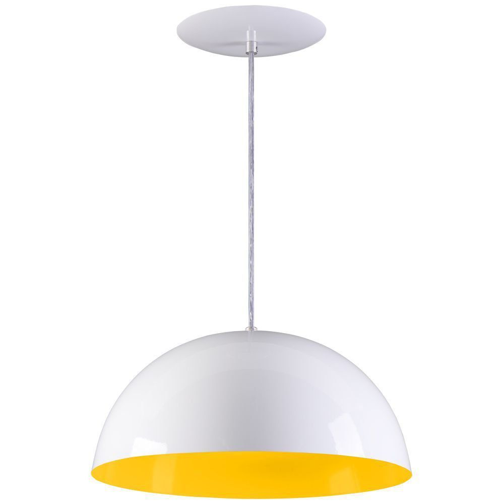 Pendente Meia Lua 40cm Luminária Alumínio Branco Textura C/ Amarelo - Rei da Iluminação