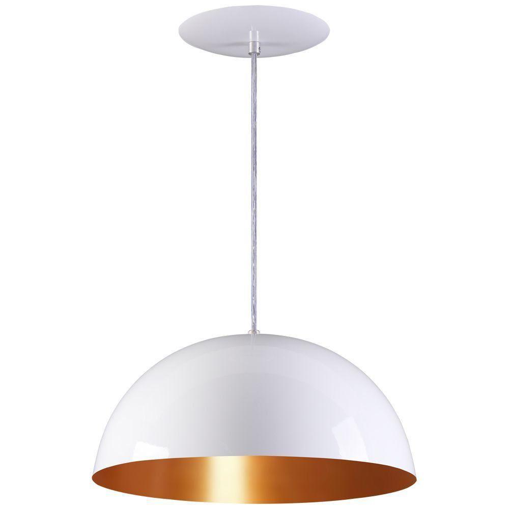 Pendente Meia Lua 40cm Luminária Alumínio Branco Textura C/ Cobre - Rei da Iluminação