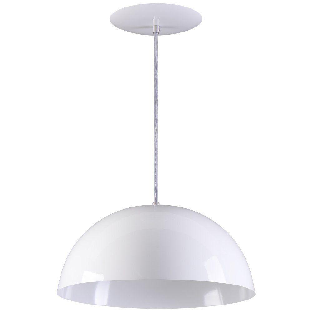 Pendente Meia Lua 40cm Luminária Alumínio Branco Textura - Rei da Iluminação