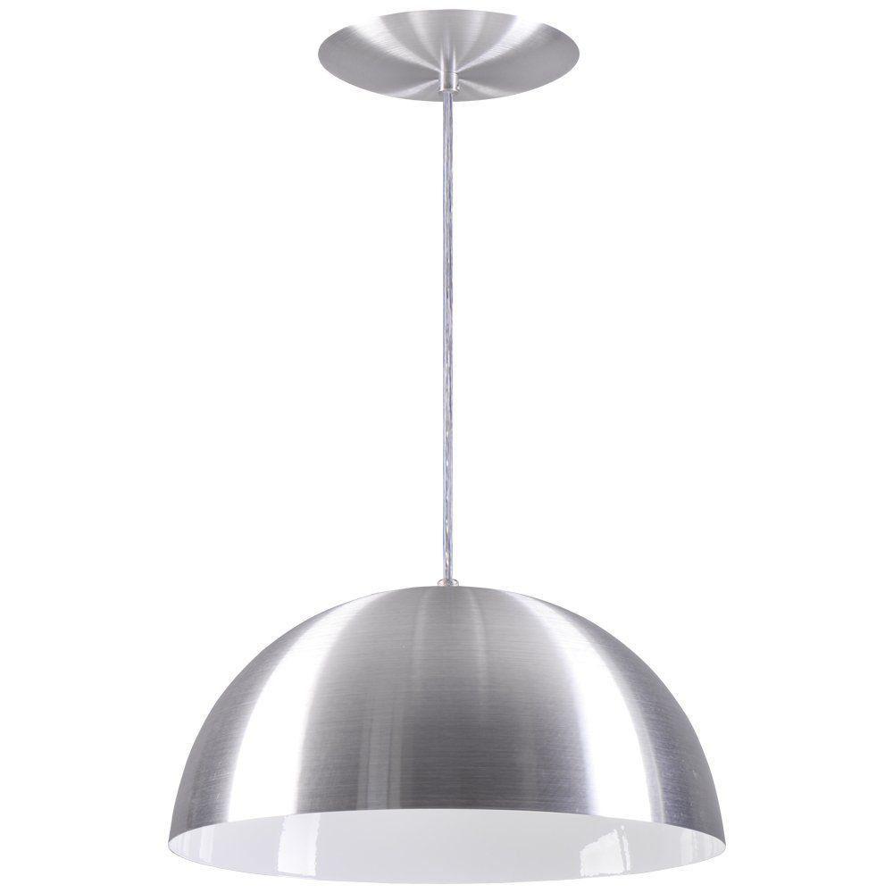 Pendente Meia Lua 40cm Luminária Alumínio Escovado - Rei da Iluminação