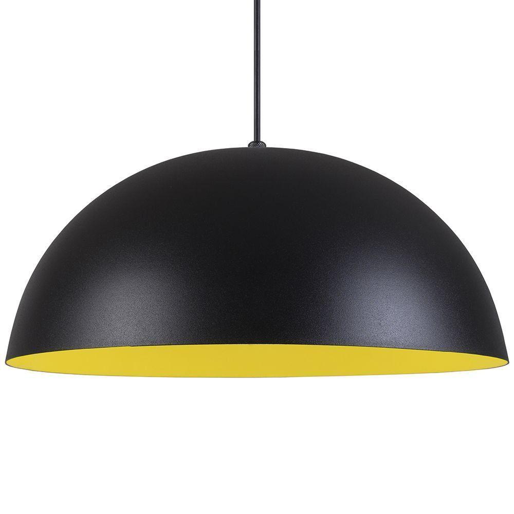 Pendente Meia Lua 40cm Luminária Alumínio Preto Textura C/ Amarelo - Rei da Iluminação