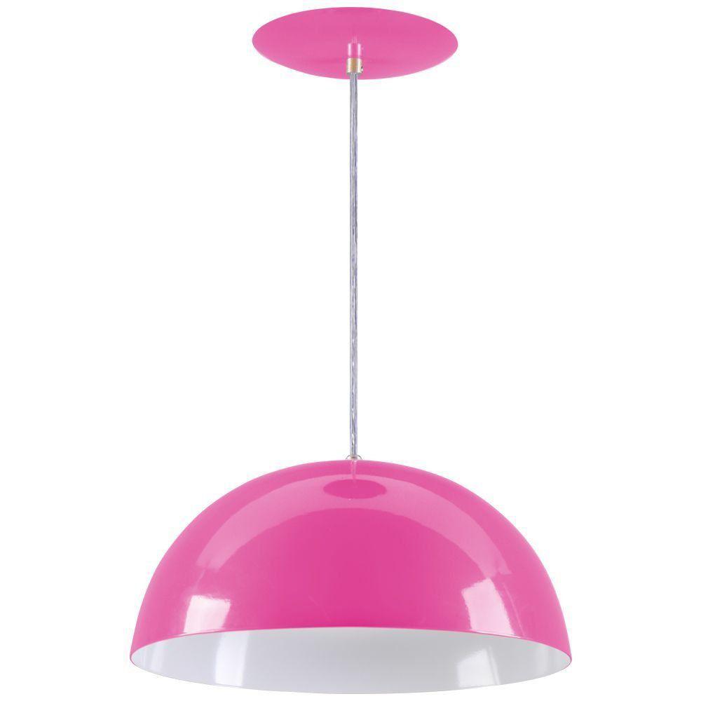 Pendente Meia Lua 40cm Luminária Alumínio Rosa - Rei da Iluminação