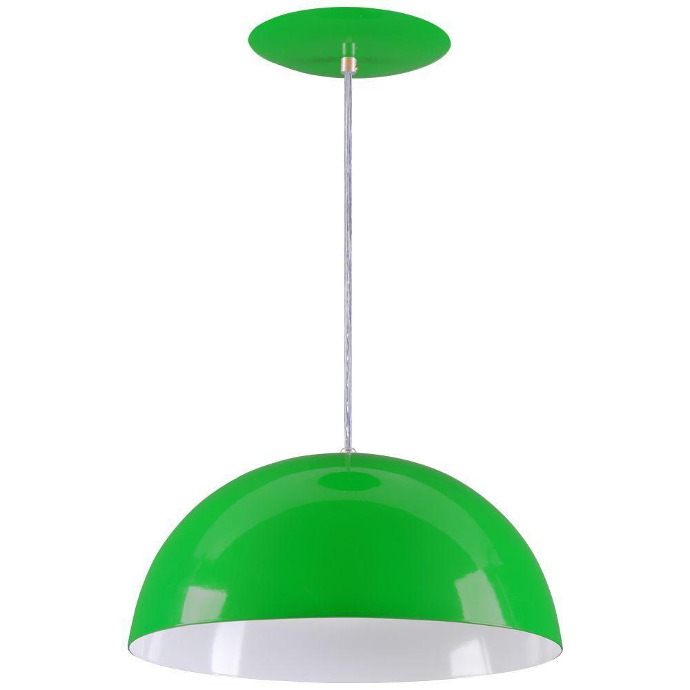 Pendente Meia Lua 40cm Luminária Alumínio Verde - Rei da Iluminação
