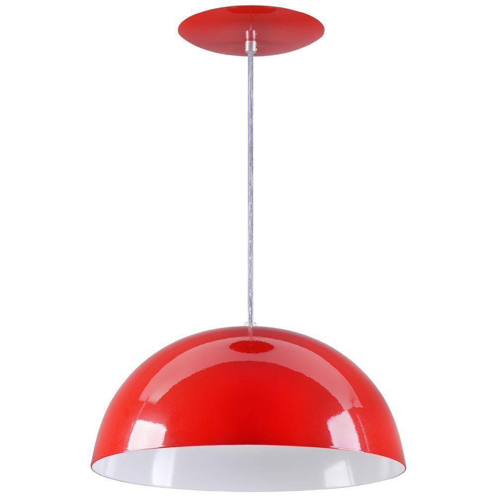 Pendente Meia Lua 40cm Luminária Alumínio Vermelho - Rei da Iluminação