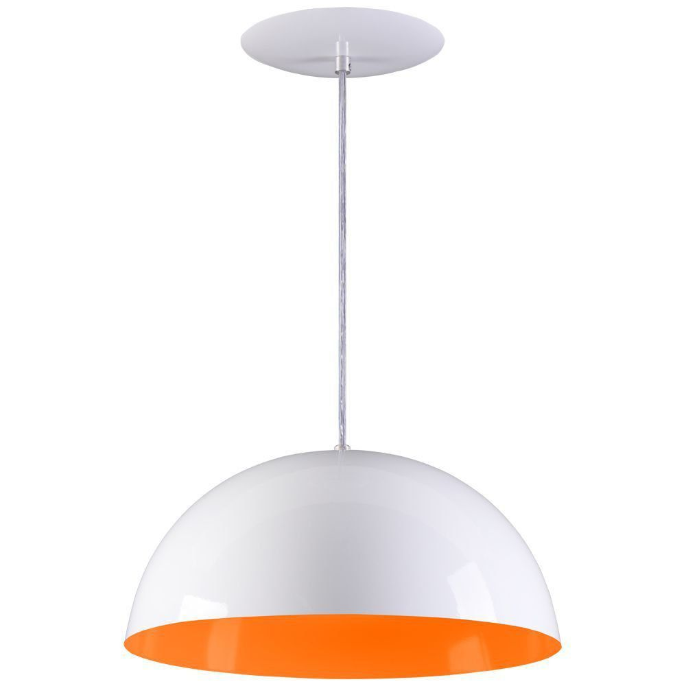 Pendente Meia Lua 50cm Luminária Alumínio Branco Textura C/ Laranja - Rei da Iluminação