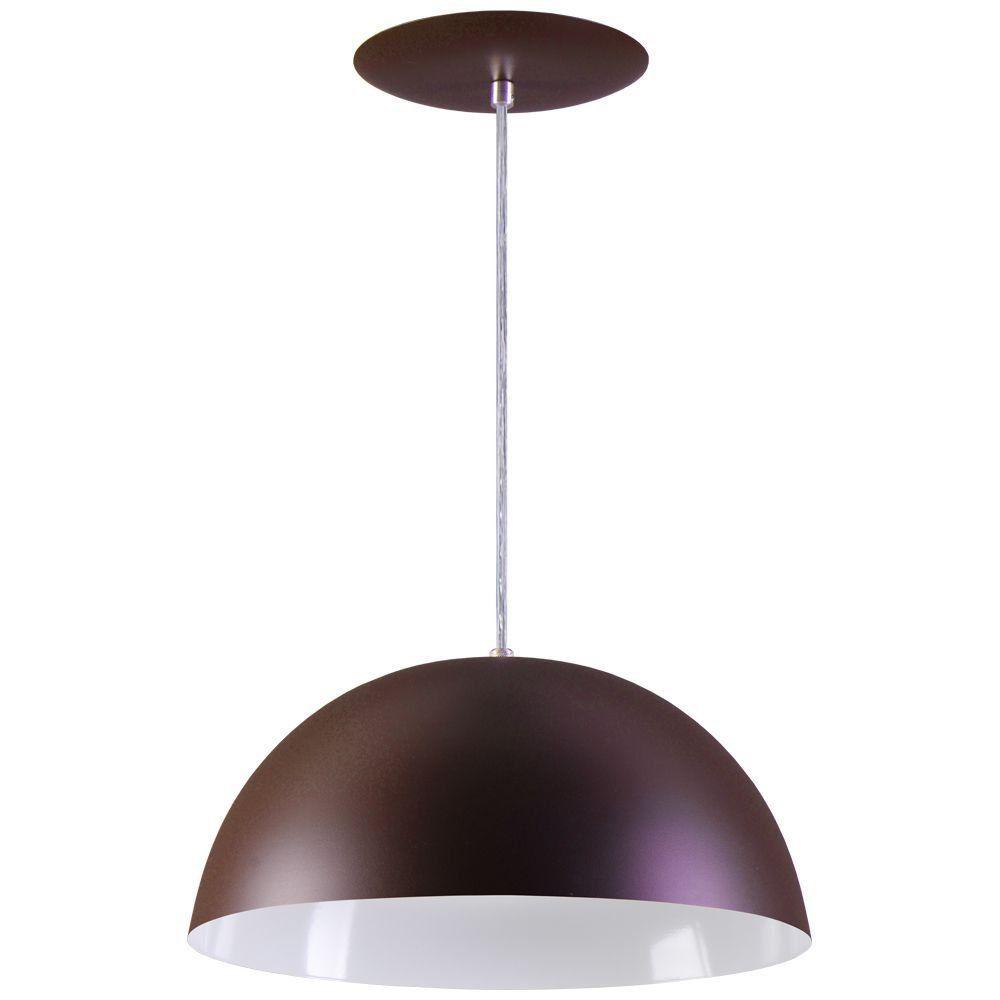 Pendente Meia Lua 50cm Luminária Alumínio Marrom Tabaco Textura - Rei da Iluminação