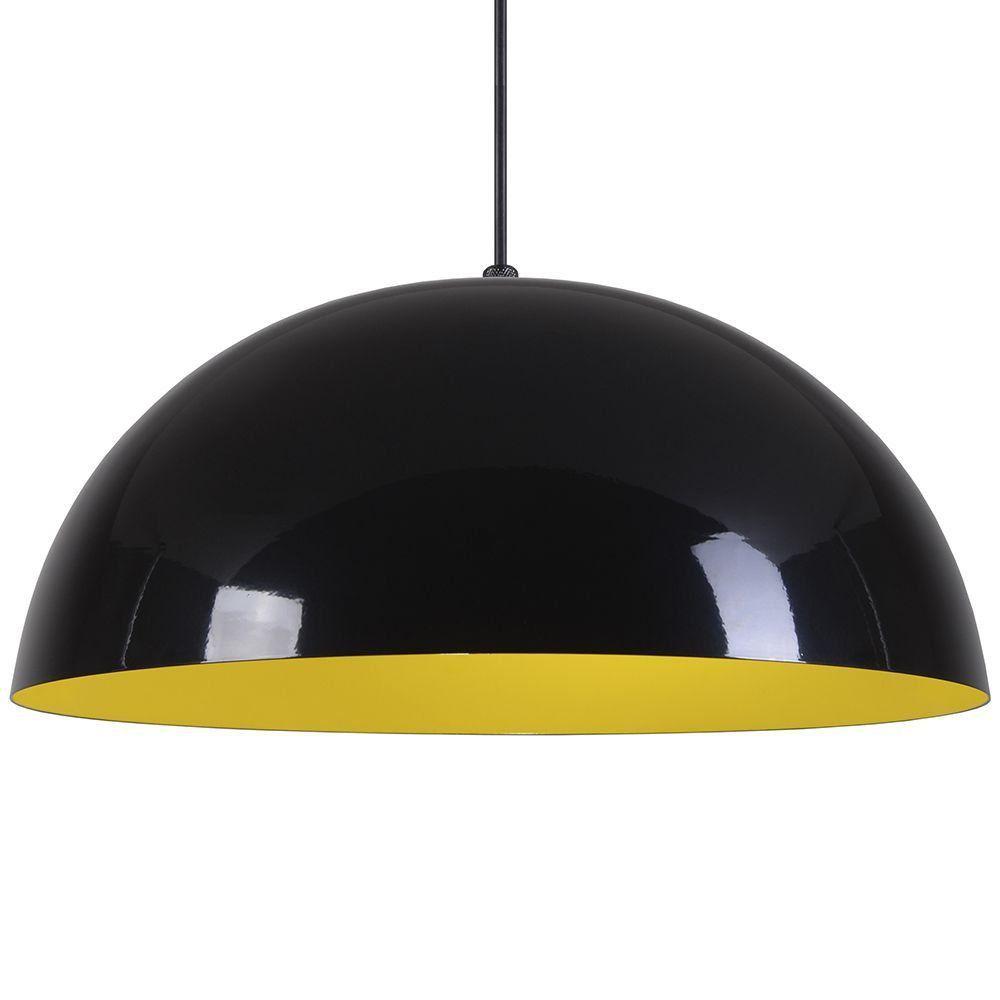 Pendente Meia Lua 50cm Luminária Alumínio Preto Brilhante C/ Amarelo - Rei da Iluminação