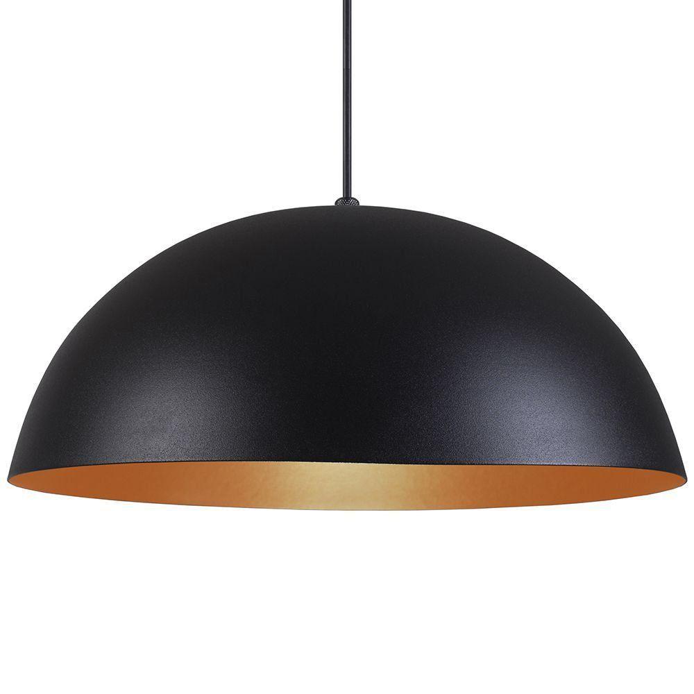 Pendente Meia Lua 50cm Luminária Alumínio Preto Textura C/ Cobre - Rei da Iluminação